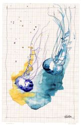 Jellyfish on graph paper IV by lenischoen