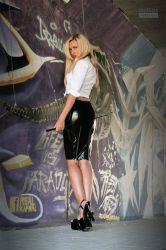 Danca Black Zipskirt White Blouse 04 by malkiss