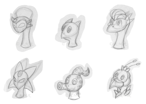 Monster Heads Sketch by skhaiwhaelz