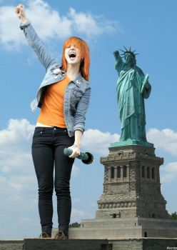 Giantess Hayley Williams With Statue Of Liberty by docop