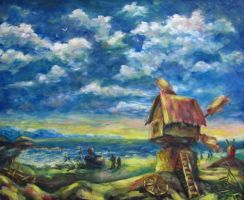 Windmill and the sea by Natalie-Skarlet