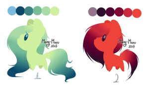 Gradient Pony Adopts - Nature and Lava [CLOSED] by Mary-Maru
