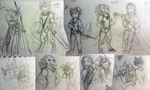 Party of 5 Sketch Dump by Archivist-Kayl