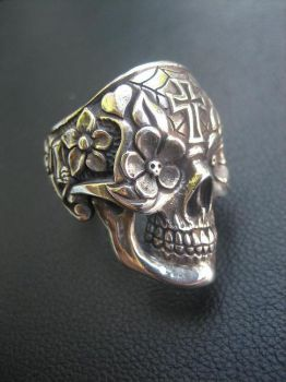Day of the dead skull ring by flintlockprivateer