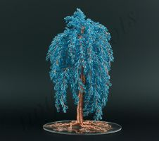 Tall weeping style turquoise bead and copper wire  by Twystedroots