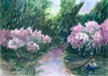Painting with artist and lilacs by ringonoki