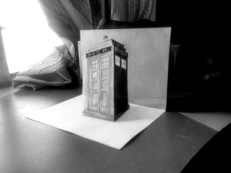 Tardis - Dr. Who (3D Drawing Commission) by Ankredible