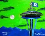 SEATTLE SEAHAWKS SPACE NEEDLE SUNSET ART