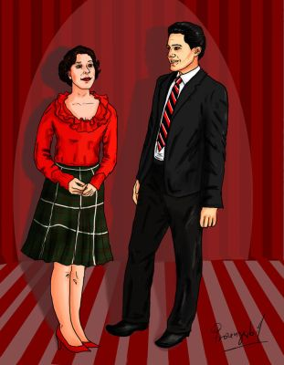 Audrey Horne and Special Agent Dale Cooper by frozengerbil