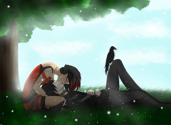 kissing under the tree by AlyshaAbandomations