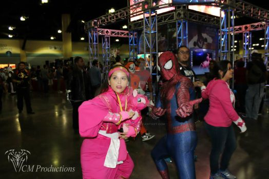 Spider-Man teams up with Pink Ninja Rangers by DramaDollLover