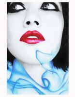 blue smoke and red lips by Vive-Le-Rock