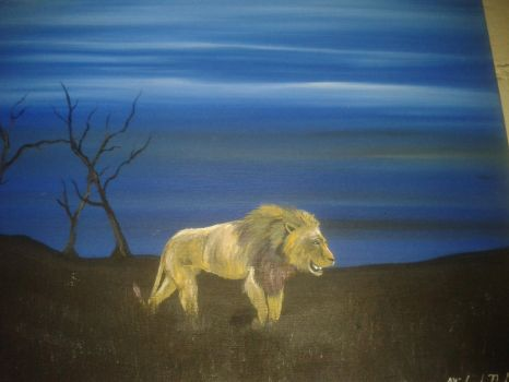 The Lonely  Hunt - Canvas/Acrylic Painting by EvoEmpyre