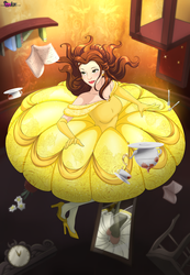 Belle floating down the Rabbit hole by sugarnhoney