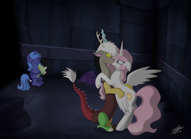 Discord and Celestia accidental kiss [remade] by Dalilastar