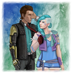 Art trade -Tes and Rhys by LadyMintLeaf