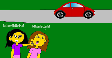 Sandra Playing Punch Buggy with Allison by MikeJEddyNSGamer89