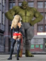 Ms Marvel facing the Skrull champion by DahriAlGhul