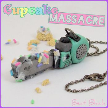 Cupcake Massacre Chainsaw Necklace by beatblack