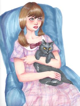 Girl and Her Cat by silverz777