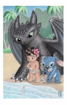 To The Water (Baby Moana, Stitch and Toothless) by DenaeFrazierStudios
