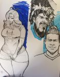 Big woman sketch and Roman Torres by norberthor