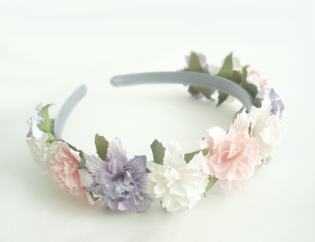 Paper Flowers Headband - Pink, Lavender, White by Feyon