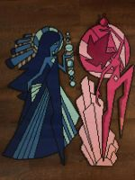 Pink and Blue Diamond Murals Perler Beads by BejeweledWalrus