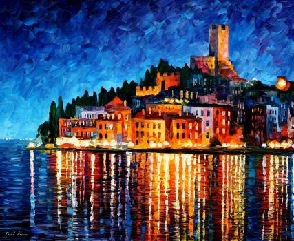 Italy - Harbor by Leonid Afremov by Leonidafremov