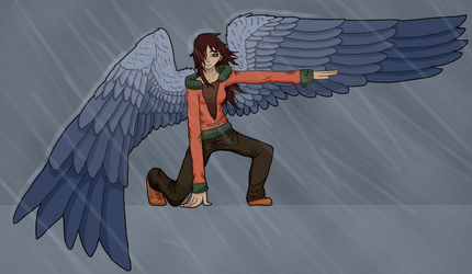 In the rain (redraw) by AngelicCrossroads