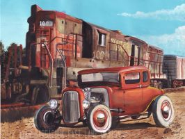 Ancient Relics (1932 Ford Coupe Hot Rod Painting) by FastLaneIllustration