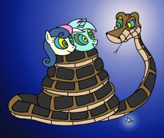Kaa catches Bon bon and Lyra by lol20