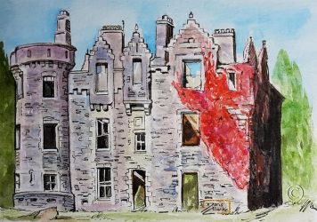 World Watercolor Month - Day 24 (Ruined Castle) by Harmony1965