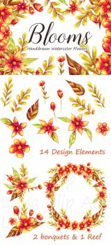Blooms Floral Handdrawn Watercolor Clip Art by Jacutiepie14