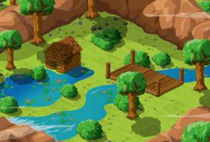 Landscape scenery design for 'Puzzycat' by Neyus