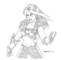Red She-Hulk Pencil Sketch by BillMcKay