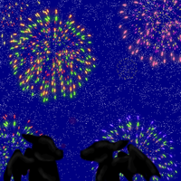 Dragons under fireworks by PipeDreamNo20