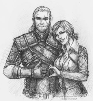 Geralt and Triss Merigold by NastyaSkaya
