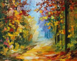 Early Morning In The Woods by Leonid Afremov by Leonidafremov