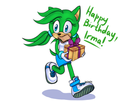 Irma TH with the gift by lizathehedgehog