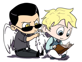 Crowley Grooms Aziraphale by StephanieLamb