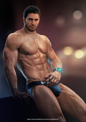 Chris Redfield Blue Jockstrap by DaemonCollection