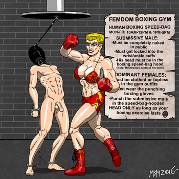 Femdom Human Boxing Speed-Bag 4 by RedSpider2008