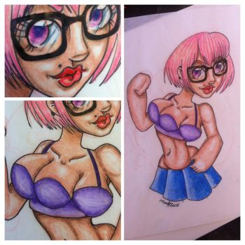 Three boobed girl by DrawWithMonster