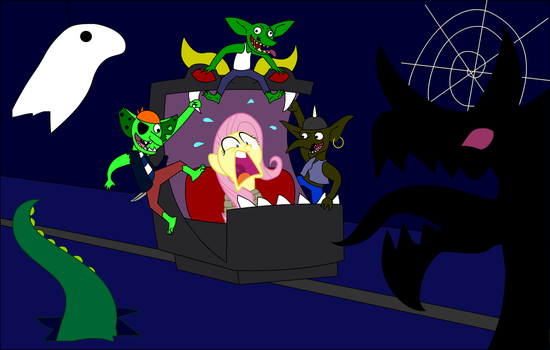 Fluttershy Trapped In A Haunted Ride With Goblins by Zacharygoblin55