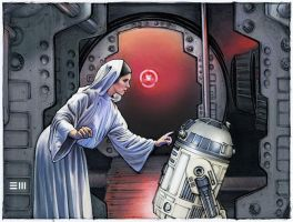 Princess Leia and R2-D2 Concept Sketch by Erik-Maell