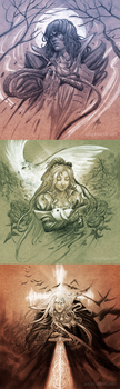 Castlevania: Symphony of the Night sketches by AleksiRemesArt