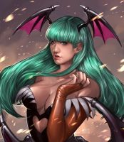Commission: Sheila as Morrigan by IndahAlditha