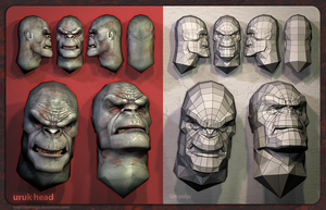 Uruk-hai heads: Mesh + render. by SteMega