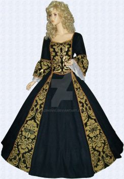 Baroque dress in black-gold by Azinovic